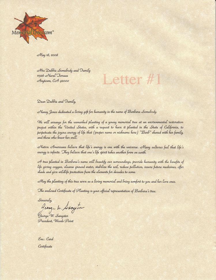 sympathy letter sample